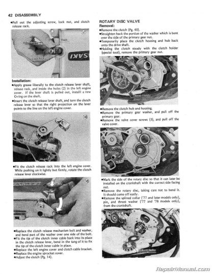 Kawasaki KS125 KE125 1974 - 1985 Motorcycle Service Repair Manual