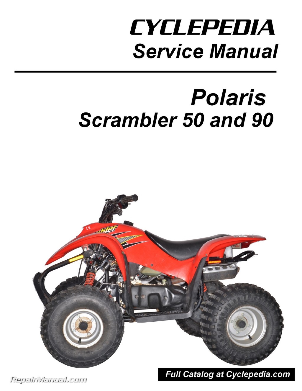 polaris 50cc 90cc scrambler atv print service manual by cyclepedia rh repairmanual com 2006 Polaris Predator 50 2004 polaris predator 500 service manual