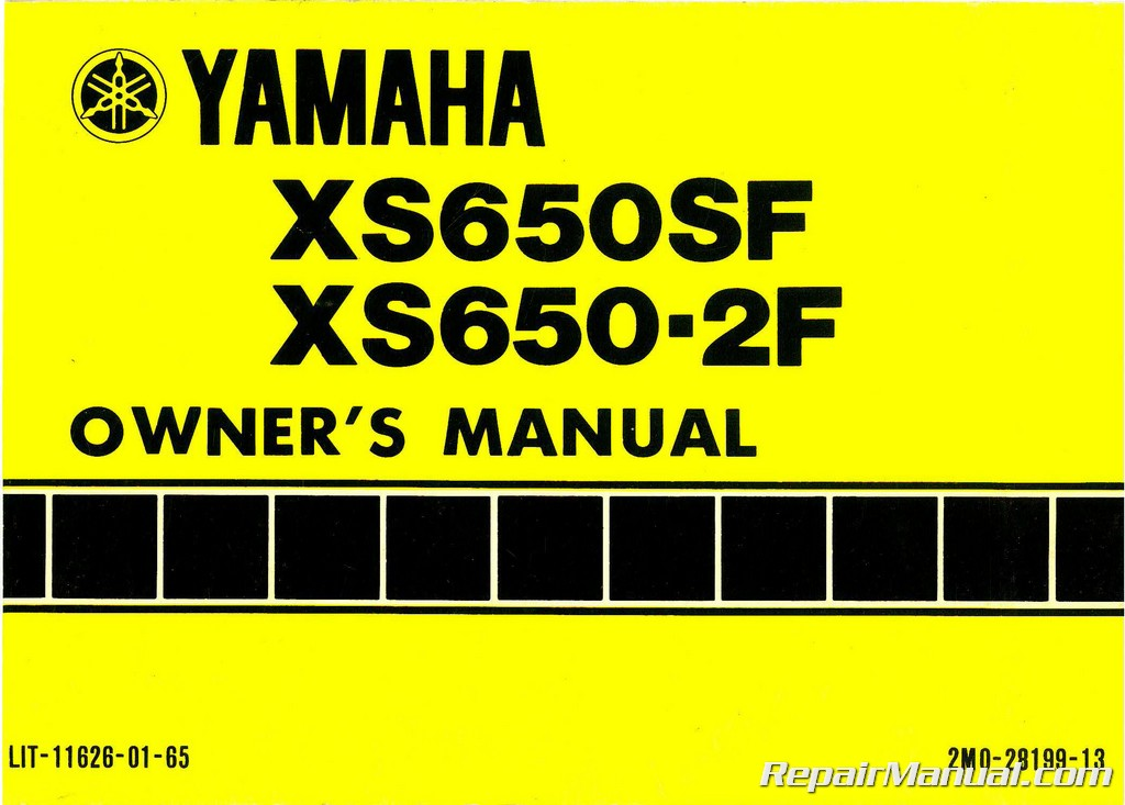 1979 Yamaha XS650SF Motorcycle Owners Manual on 1979 xs650 parts, 1979 xs650 brakes, 1979 xs650 frame,