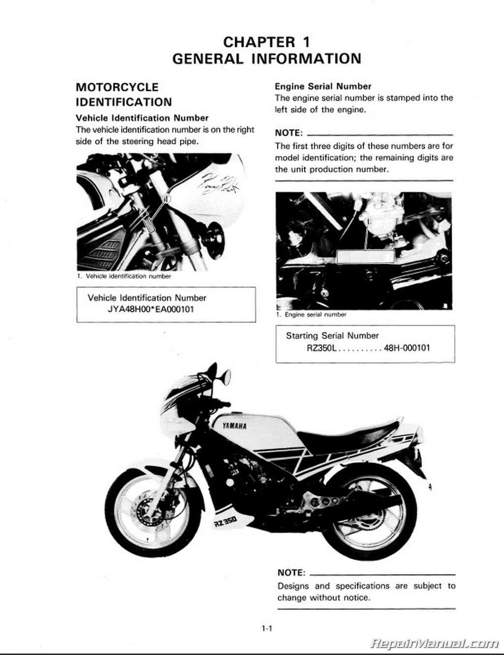 1984 - 1985 Yamaha RZ350 Two-Stroke Motorcycle Service Manual