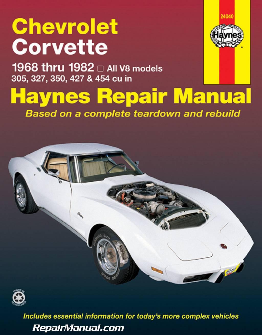 1968 1982 Chevrolet Corvette Haynes Service Repair Manual All V8 STINGRAY Chevy