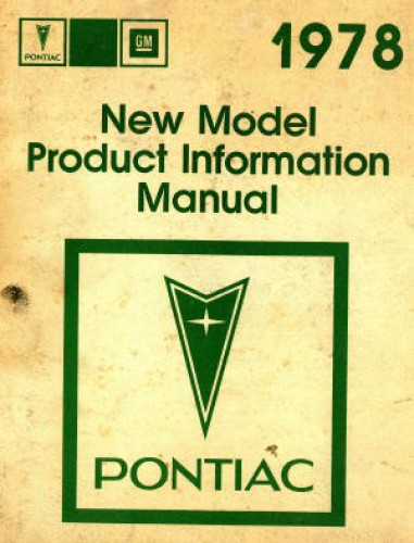 Pontiac New Model Product Information Manual 1978 Used