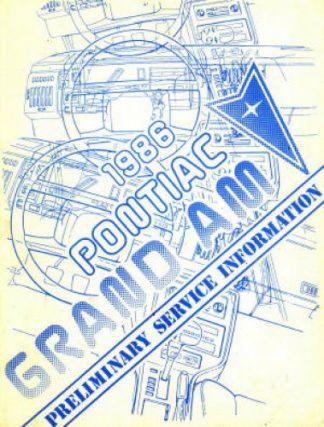 Pontiac Grand Am Preliminary Service Information 1986 Used