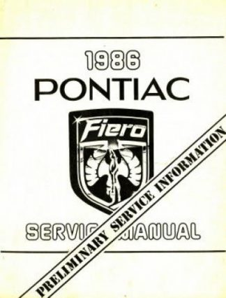 Pontiac Fiero Preliminary Service Information Manual 1986 Used
