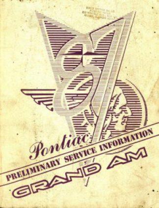 Pontiac Grand Am Preliminary Service Information 1987 Used