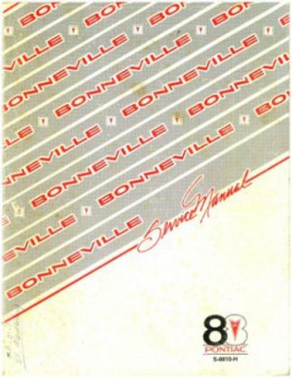 Pontiac Bonneville Service Manual 1988 Used