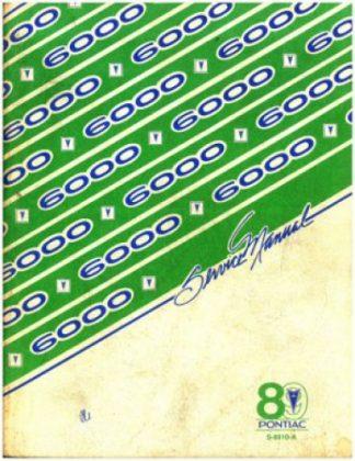 Pontiac 6000 Service Manual 1989 Used
