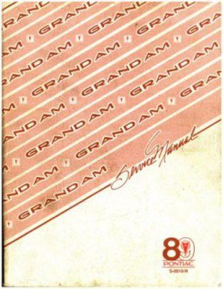 Pontiac Grand AM Service Manual 1989 Used