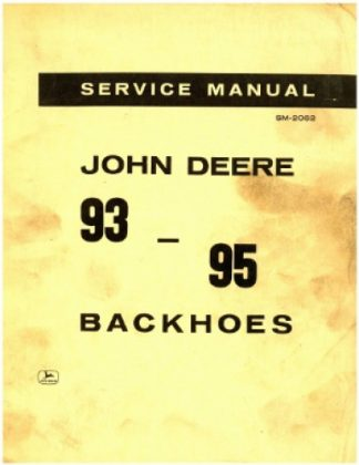 1965 John Deere 93-95 Backhoes Service Manual