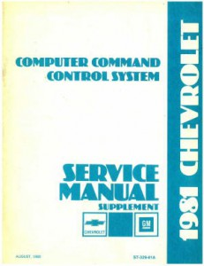 Used 1981 Chevrolet Computer Command Control System Service Manual Supplement 1