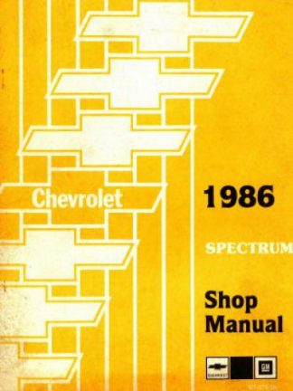 Chevrolet Spectrum Shop Manual 1986 Used