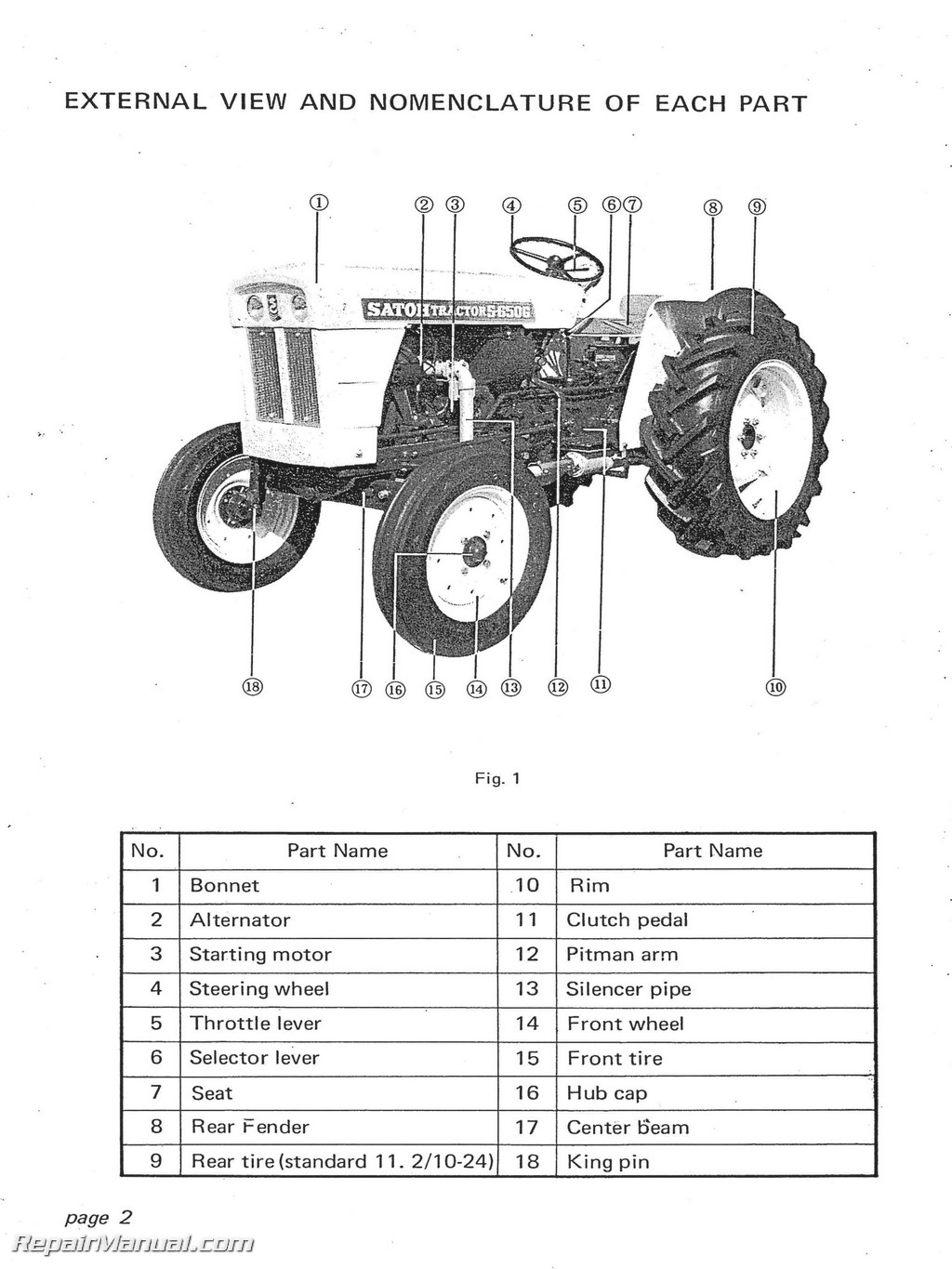Satoh 650g Tractor Parts : Satoh s g operators manual