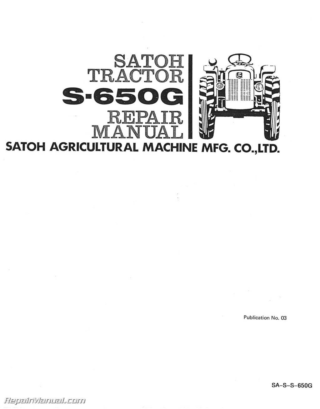 Satoh S650G Service Manual_Page_1 satoh s650g tractor service manual