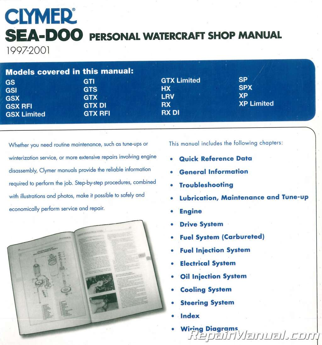 Sea Doo Water Vehicles 1997 2001 Clymer Pwc Shop Manual 96 Gtx Wiring Diagram