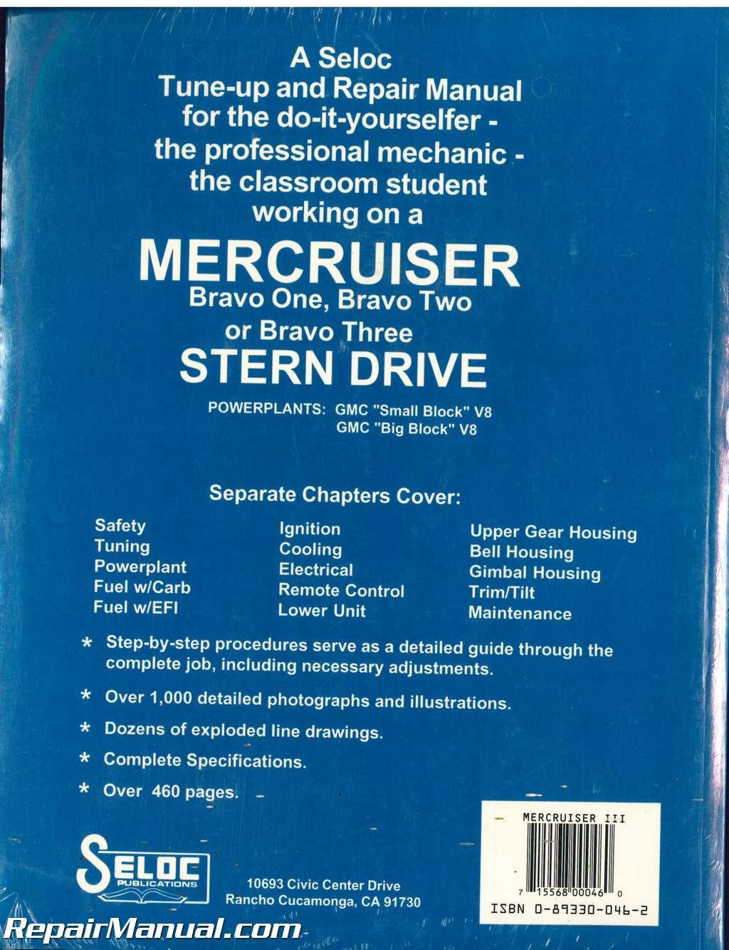 Seloc Mercruiser Stern Drive 1992-1996 Alpha One Generation II Boat Engine  Repair Manual