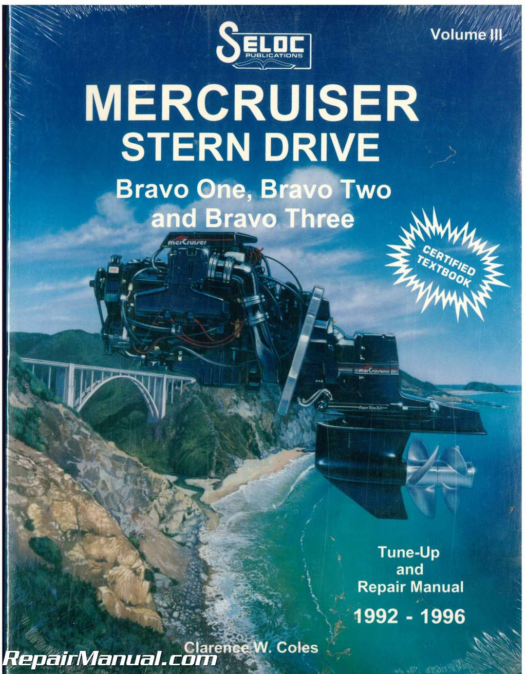 USED Seloc Mercruiser Stern Drive 1992-1996 Bravo One Two Three Boat Engine  Repair Manual