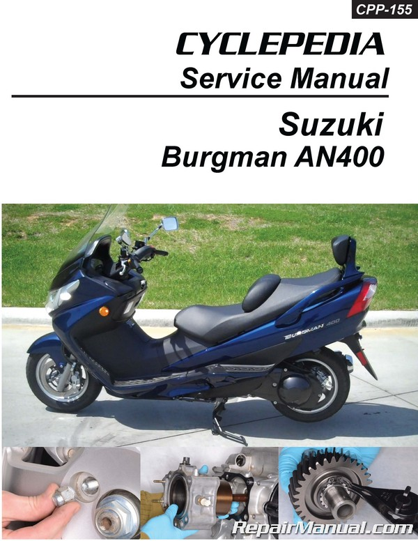 suzuki an400 burgman scooter cyclepedia printed service manual rh repairmanual com suzuki an 400 service manual pdf suzuki eiger 400 service manual free download