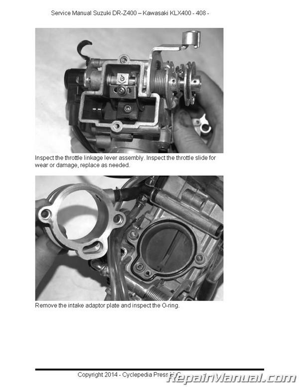 suzuki dr z400 kawasaki klx400 cyclepedia service manual rh repairmanual com kawasaki klx 400 service manual 2015 Kawasaki KLX 400
