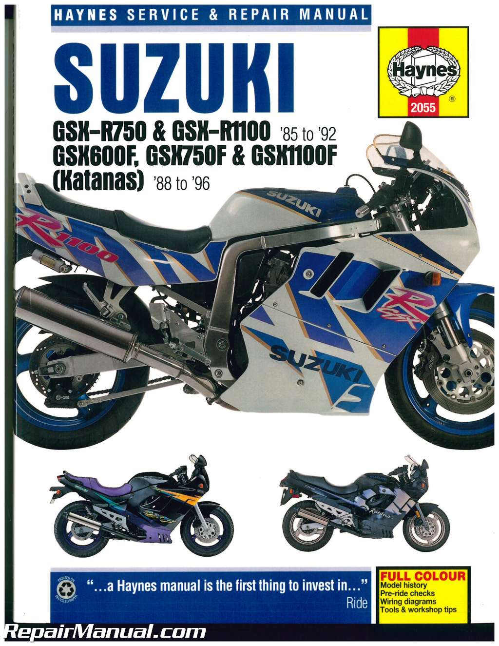 Suzuki GSX-R 750, GSX-R 1100 1985-1992 Katana 600 750 1100 1988-1996 Haynes  Motorcycle Repair Manual
