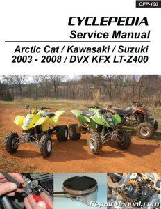 Suzuki Kawasaki DVX400 KFX400 LT-Z400 Cyclepedia Printed ATV Service Manual_Page_1