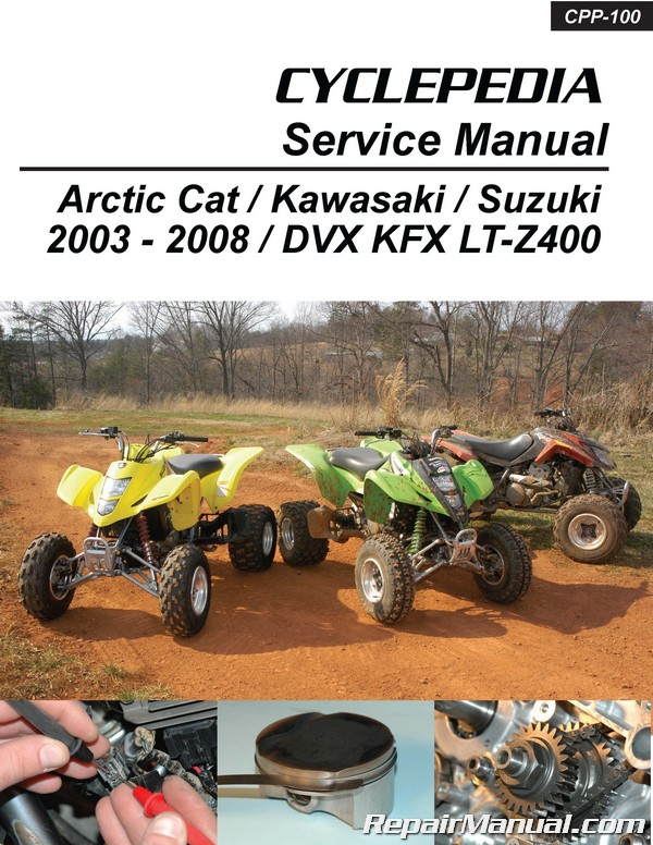 suzuki kawasaki dvx400 kfx400 lt z400 cyclepedia printed atv service rh repairmanual com Tracks On Suzuki Z400 Suzuki ATV Model
