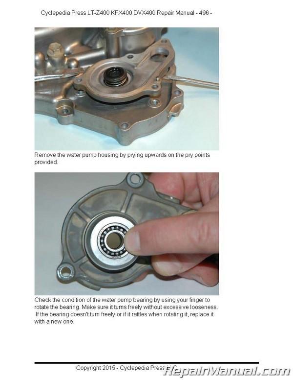 suzuki kawasaki dvx400 kfx400 lt z400 cyclepedia printed atv service rh repairmanual com 2004 Green KFX 400 2004 KFX 400 Black