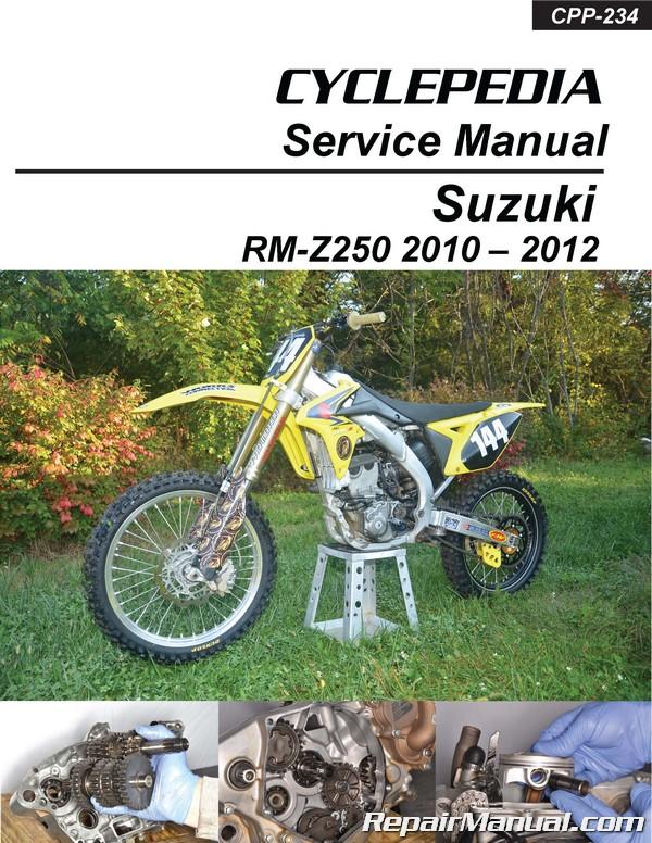 suzuki rm z250 2010 2012 motorcycle printed service manual cyclepedia rh repairmanual com 2005 Suzuki RMZ 250 Tensioner 2005 suzuki rm 250 manual