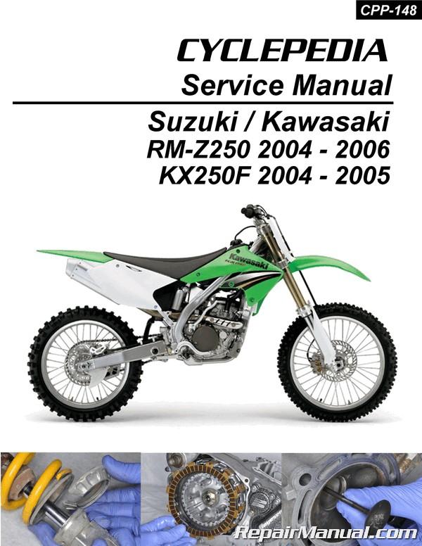 suzuki rm z250 kawasaki kx250f cyclepedia printed motorcycle service rh repairmanual com 2004 KX250F Monster 2004 kawasaki kx250f repair manual