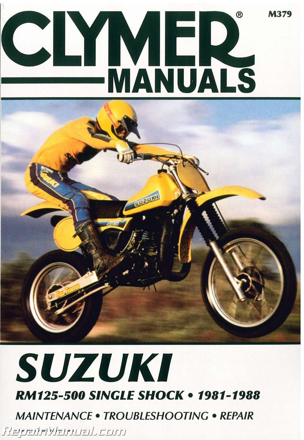 suzuki rm125 500 single shock 1981 1988 motorcycle repair manual rh  repairmanual com RMZ 250 03 RM 250 Black Plastic