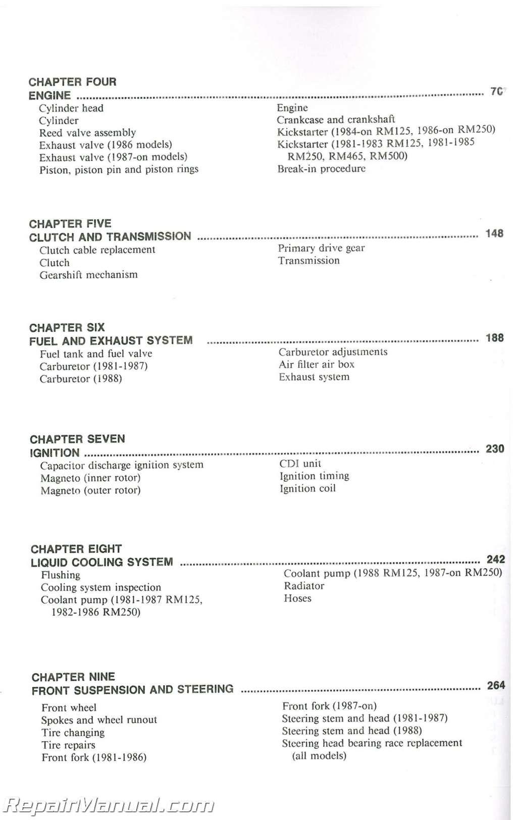 suzuki rm125 500 single shock 1981 1988 motorcycle repair manual rh  repairmanual com KX 125 RM 85