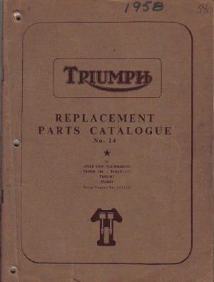 1958 Triumph Speed Twin, Thunderbird, Tiger and Trophy Parts Manual