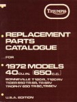 Triumph Replacement Parts Manual for 1972 650cc Motorcycles