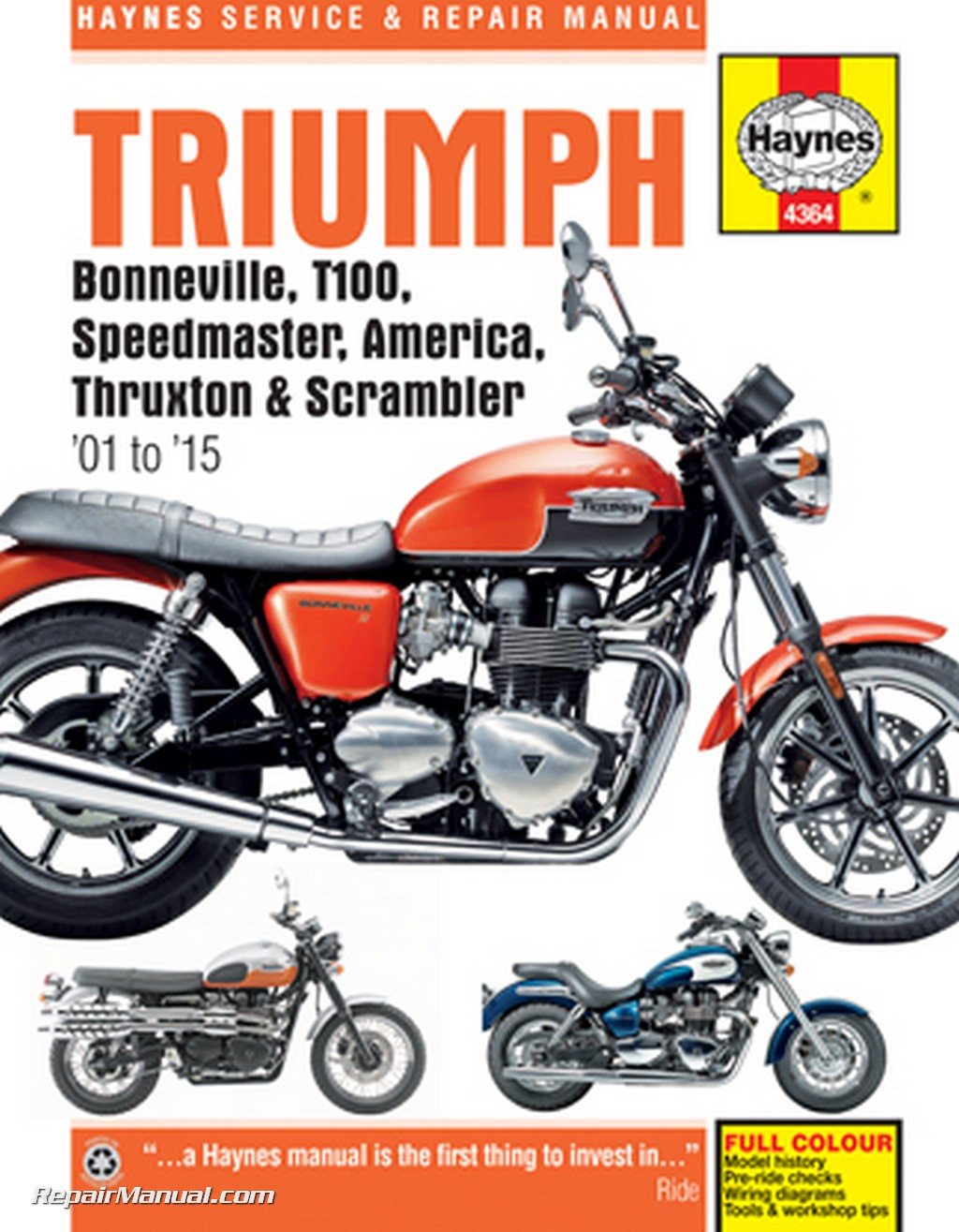 2001-2015 Triumph Bonneville T100 Speedmaster America Thruxton Scrambler  Motorcycle Repair Manual