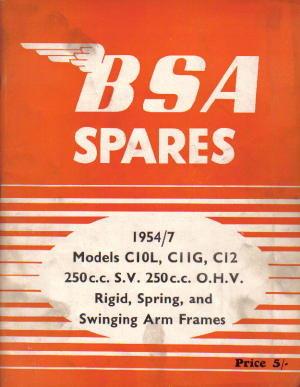 1954 1957 Bsa C10l C11g C12 250cc Ohv Parts Manual