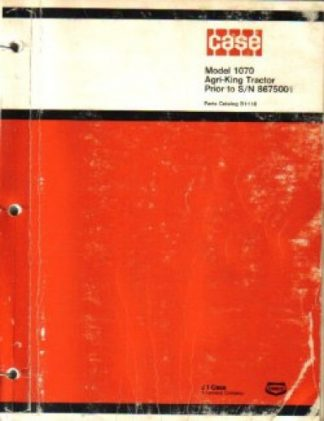 Case 1070 Agri-King Tractor Factory Parts Manual