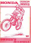 Used Official 1981 Honda CR250R Elsinore Owners Manual