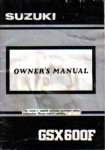 Used Official 1992 Suzuki GSX600FN Katana Owners Manual
