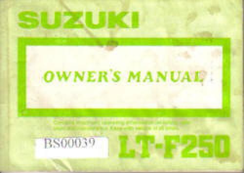 Suzuki Quadrunner  X Owners Manual