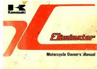 1985 Kawasaki ZL900 A1 Eliminator Owners Manual