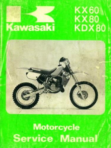 Used 1988 Kawasaki Kx60 Kx80 Kdx80 Motorcycle Service Manual