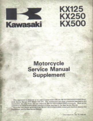 Used Kawasaki KX125 KX250 KX500 1989 Factory Service Manual Supplement