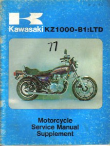 1977 kawasaki kz1000 b1 ltd service manual supplement for B1 honda service