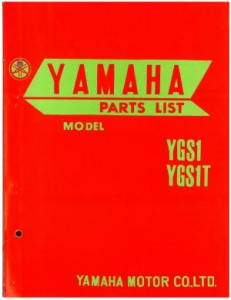 Used Official 1965 Yamaha YGS1-T and 1965 Yamaha YGS1 Factory Parts Manual