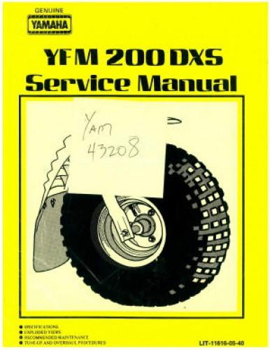 1986 yamaha yfm200dxs moto 4 service manual. Black Bedroom Furniture Sets. Home Design Ideas