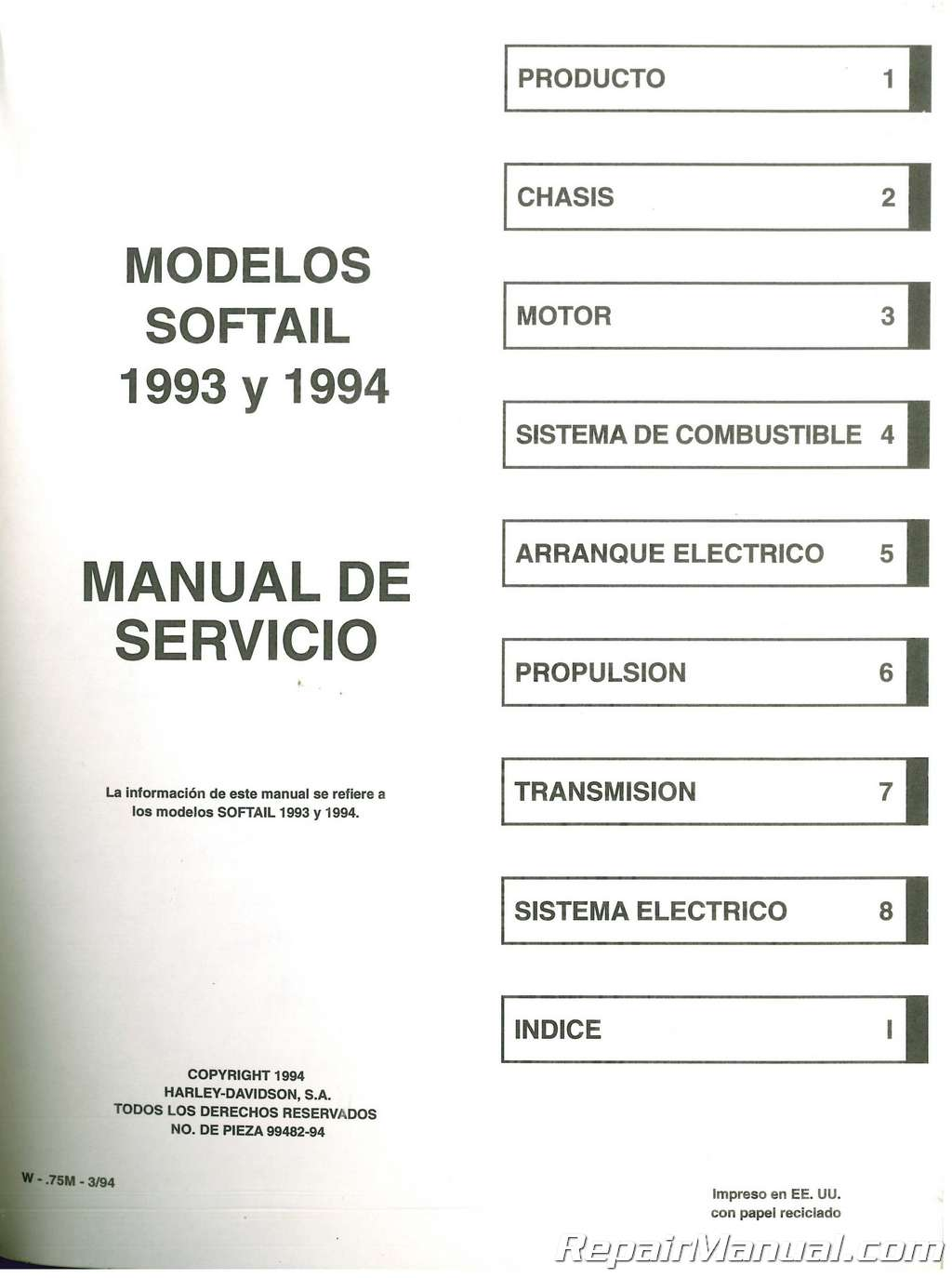 USED 1993-1994 Harley Davidson SPANISH Version Softail Motorcycle Service  Manual