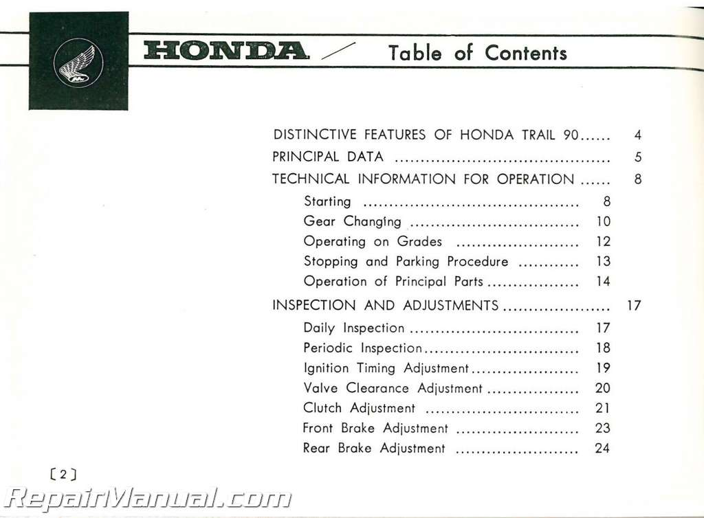 Honda Trail 90 repair Manual