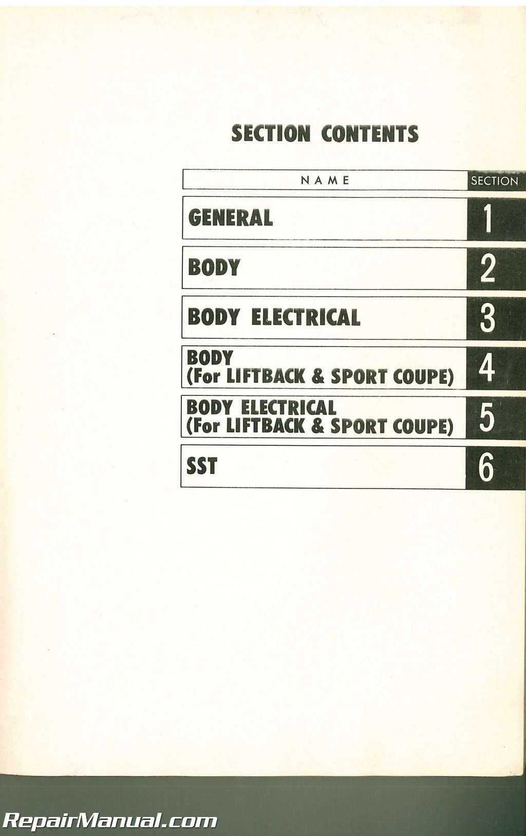 Toyota Corolla Body Repair Manual: Foreword