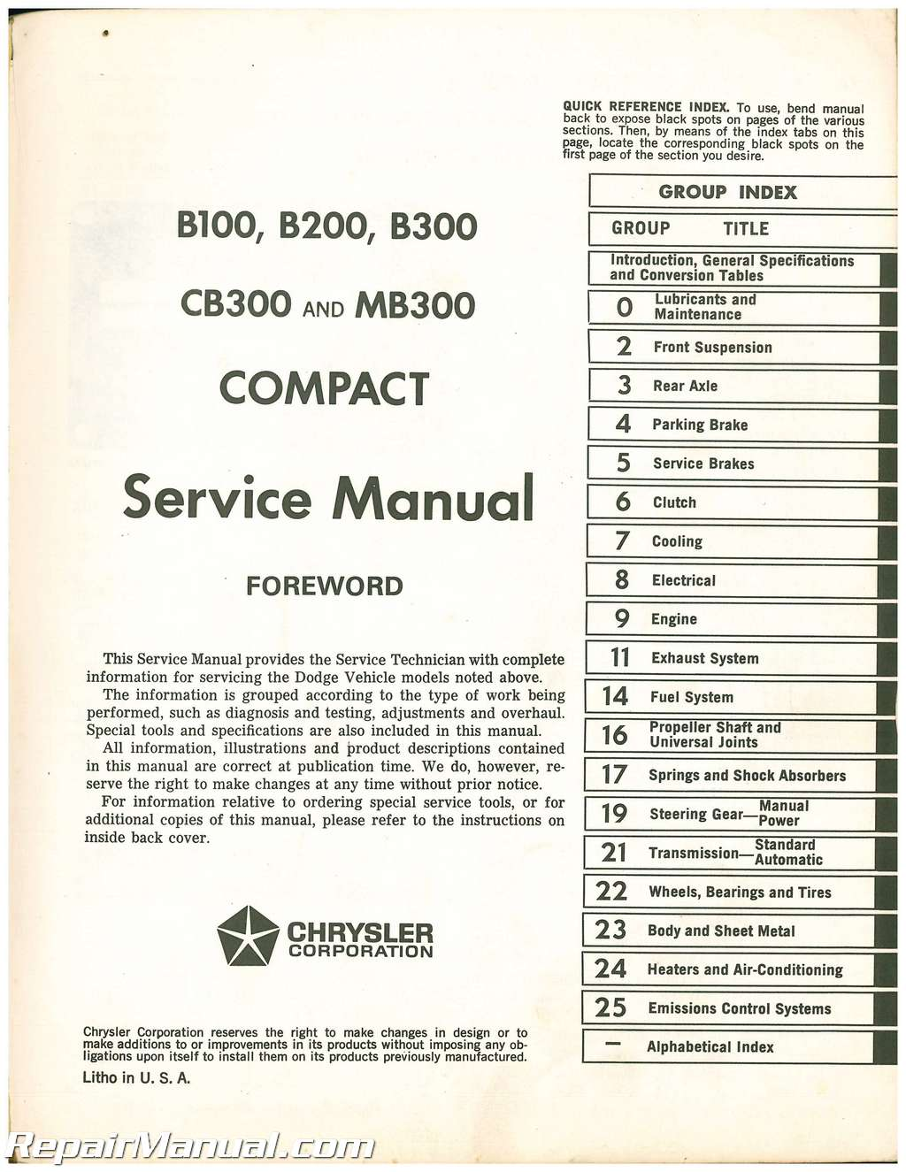 used 1974 dodge compact service manual