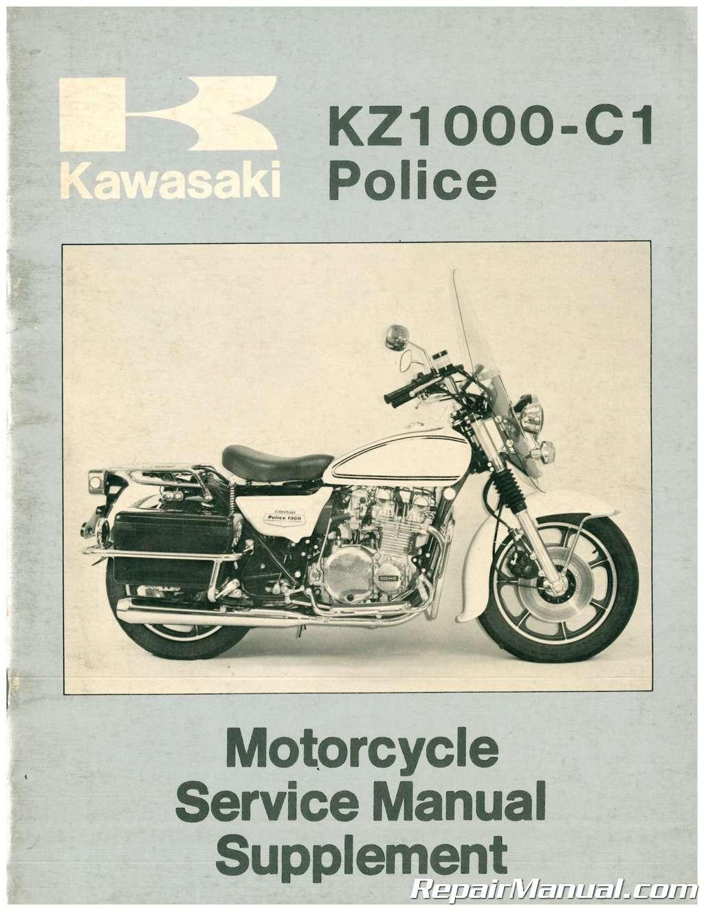 Used 1977 Kawasaki Kz1000 C1 Police Motorcycle Service Manual Supplement Ebay