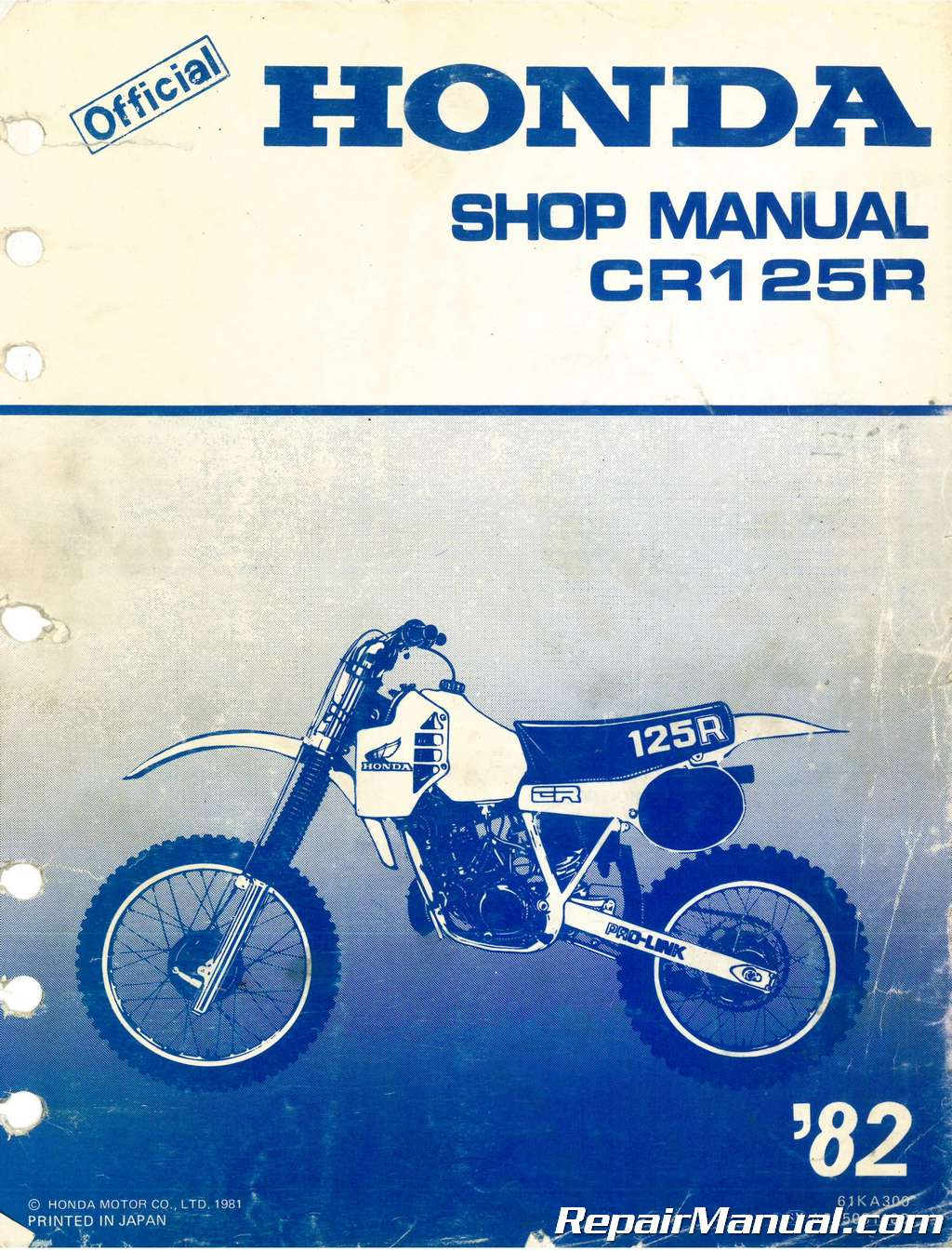 Used 1982 Honda Cr125r Service Manual